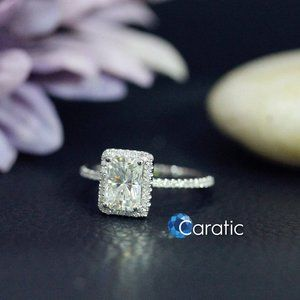 Engagement Ring 1.5 Ct Radiant Cut Sterling Silver